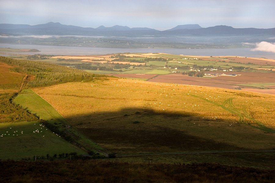 The shadow of Greenan Hill plus Grianán proudly on top towards Derryveagh Mountains