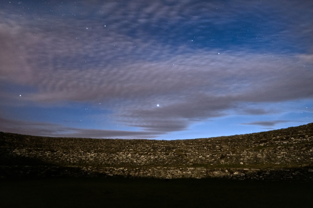 Venus in the west, just showing between the clouds, at 11.01 pm.